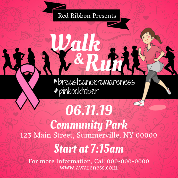 Walk-a-thon Breast Cancer Awareness Square Image Instagram Post template