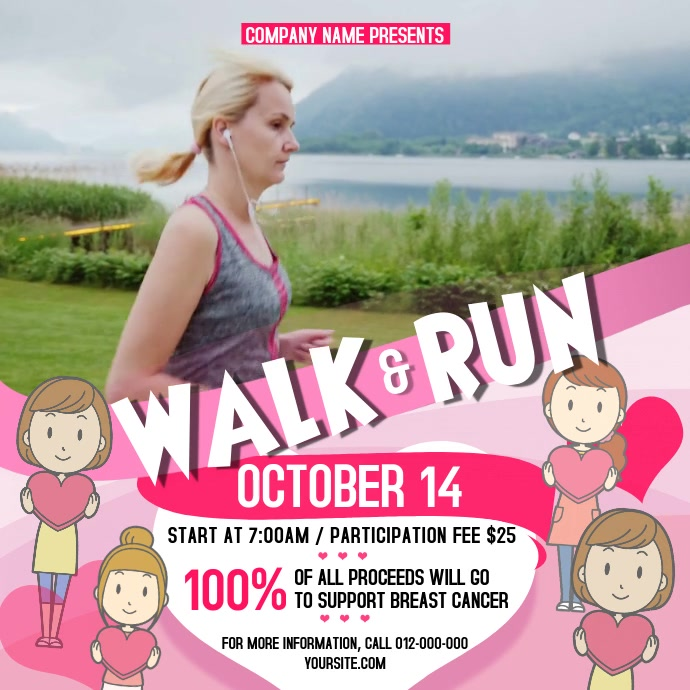 Walk-a-thon Breast Cancer Awareness Square Video Instagram Post template