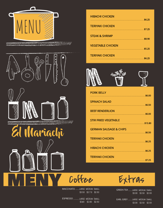 wall Board Menu Card Template Poster/muurbord