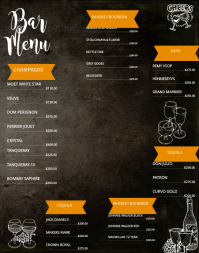 Wallboard Bar Menu Template  Drinks Menu Template
