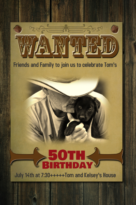 Wanted Birthday Poster Sign Invitation Western Flyer