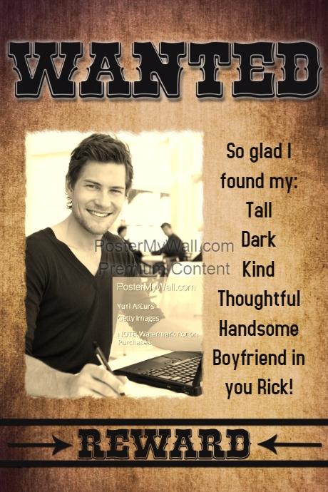 Wanted Boyfriend Romantic Poster Anniversary Gift