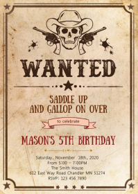Wanted cowboy birthday party invitation