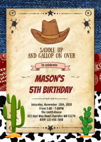 Wanted cowboy birthday party invitation A6 template