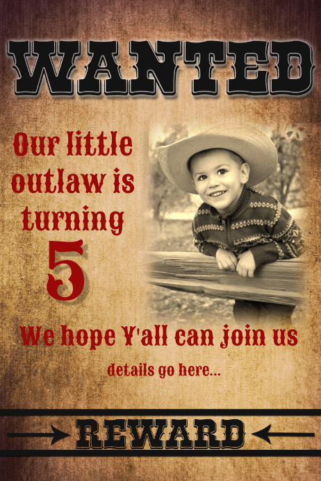 wanted cowboy theme birthday party invitation poster flyer