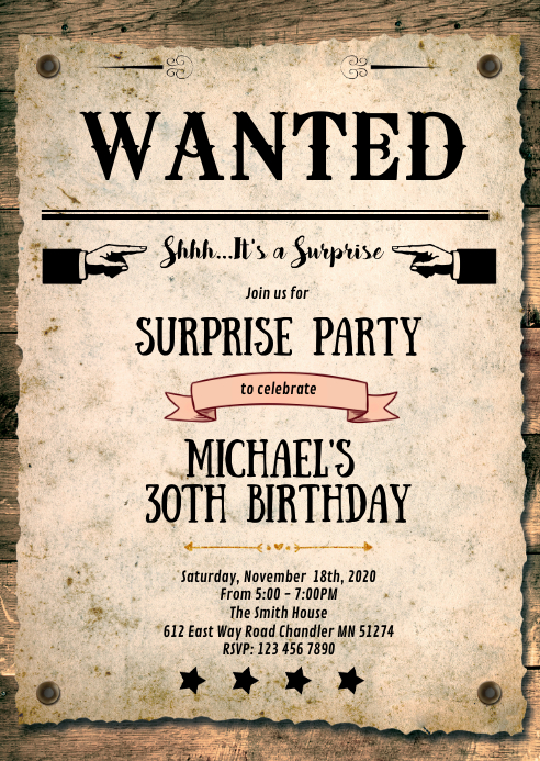 Wanted cowboy western party invitation A6 template