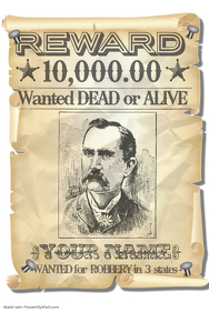 Wanted Dead Alive Western Fun Comic Joke Reward Gift Special
