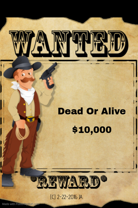 Wanted Dead Or Alive Poster Template Free Eczalinf