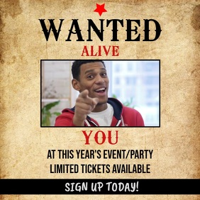 Wanted Event / Party Video Template Square (1:1)