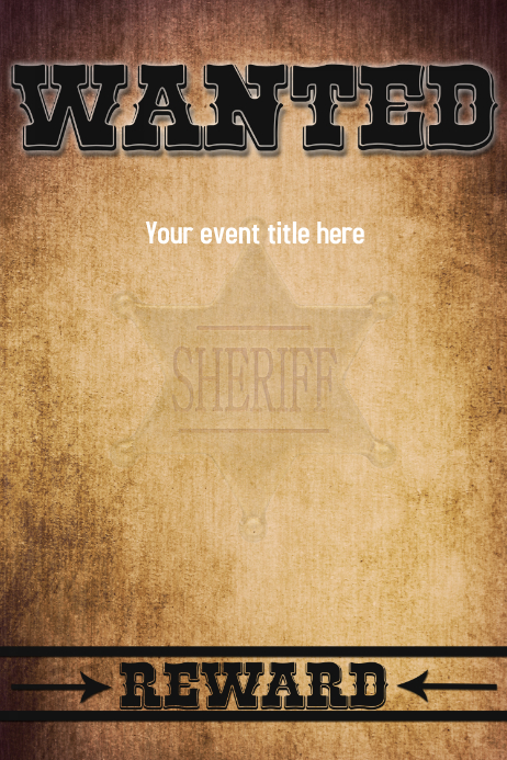 WANTED for Reward Wild West Poster Flyer Funn Póster template