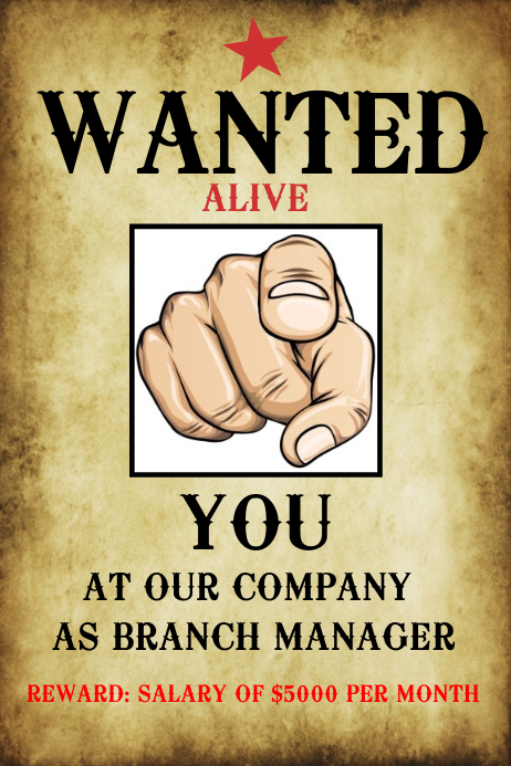 Wanted Hiring Poster Template