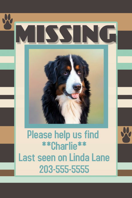 Wanted Missing Lost Dog Poster Flyer Pet Sitter Dog Walker template