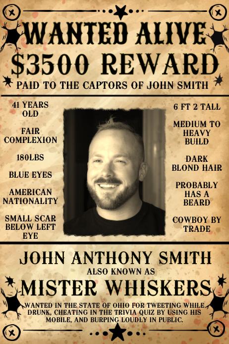 Wanted Poster Template | Wanted Poster Template Postermywall