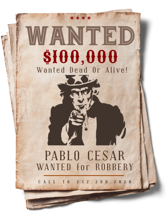Wanted Poster Template Volante (Carta US)