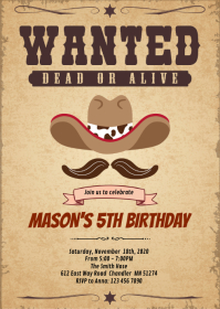 Wanted rodeo birthday invitation A6 template
