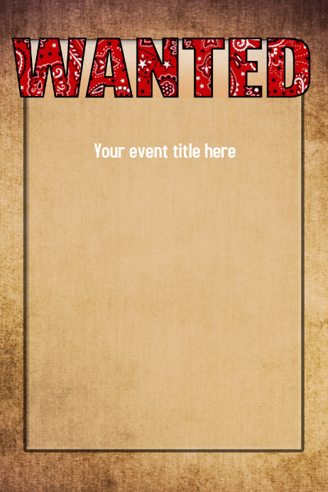 WANTED Western Wild West Poster Event Flyer Invitation