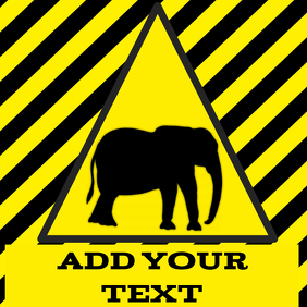 warning agressive elephant crossing yellow and black stripes