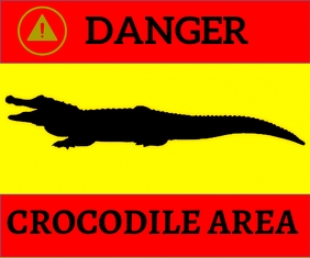 WARNING CROCODILE AREA TEMPLATE Rettangolo medio