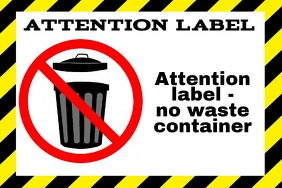 warning garbage can - Waste container - trash