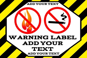 warning label yellow black - no open flames near