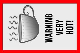 warning label - hot beverage - sign