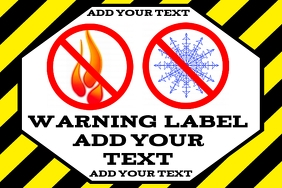 warning label - no open flames or freezing