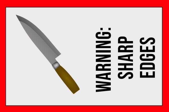 warning label - sharp edges - sign