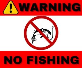 WARNING NO FISHING TEMPLATE Medium Rectangle