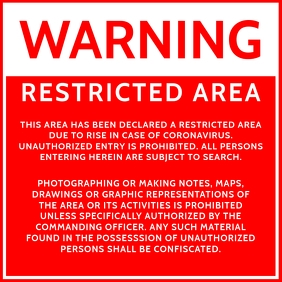 Warning Restricted Area Sign Template Square (1:1)