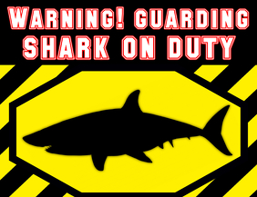 warning shark attack - DANGER sign template red black yellow
