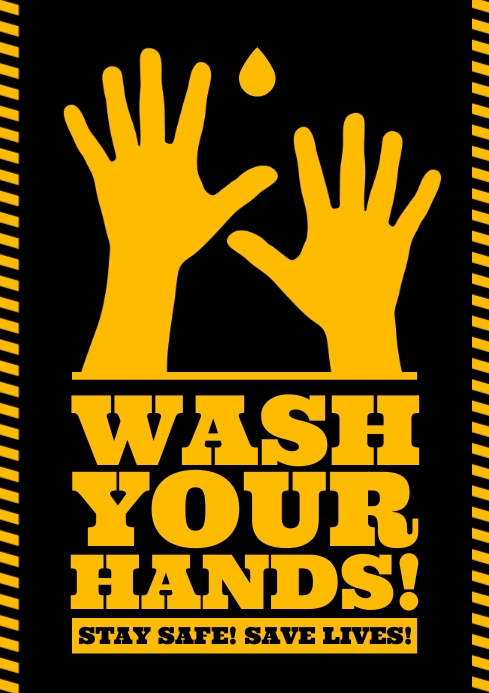 WASH YOUR HANDS POSTER A4 template