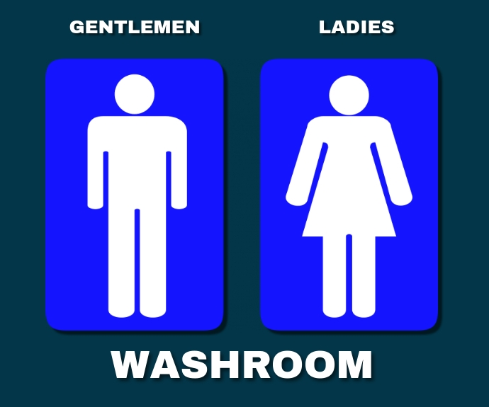 WASHROOM FOR GENTLEMEN AND LADIES TEMPLATE Persegi Panjang Sedang