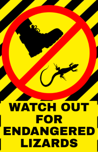 Watch out for endangered lizards - warning attention alert sign