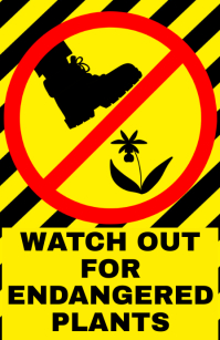 Watch out orchid endangered plant - warning attention alert sign