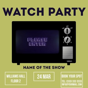 Watch party retro video template