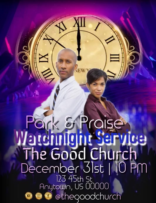 Watchnight Service Flyer (format US Letter) template