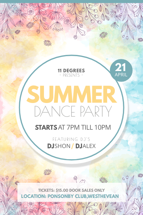 Water Color Themed Summer Dance Party Poster template