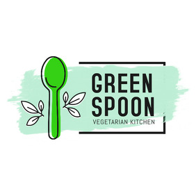 Water Color Themed Vegetarian Restaurant Logo
