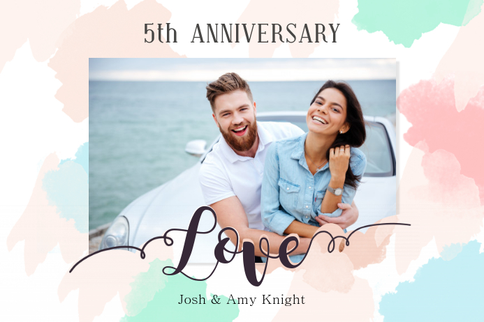Water Color Themed Wedding Anniversary Poster