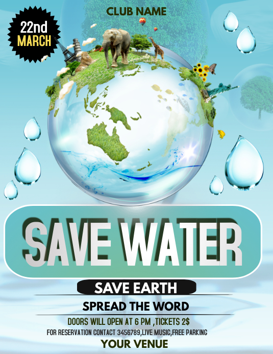 Water day flyers Pamflet (Letter AS) template
