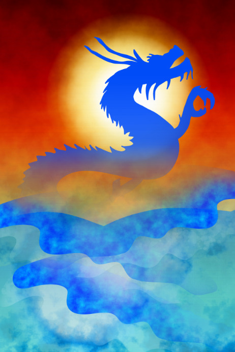 water dragon decorative poster template