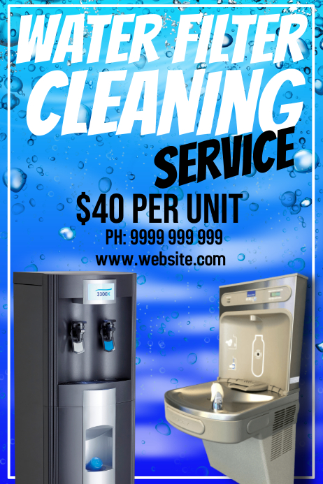 Water Filter Cleaning Poster template