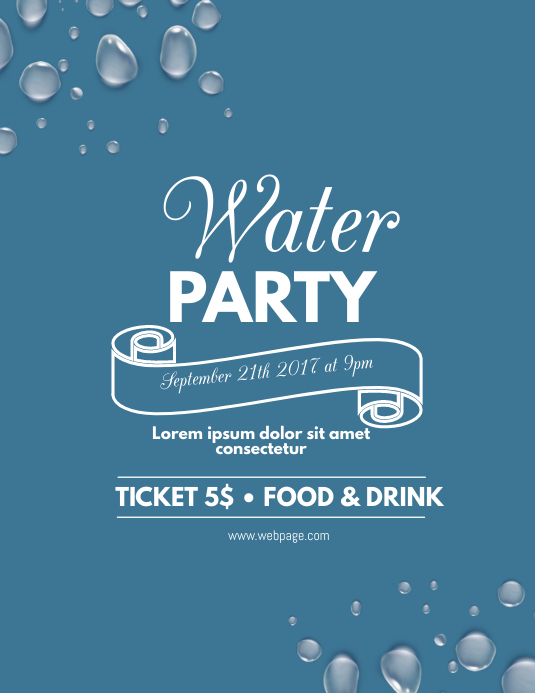Water party flyer template postermywall for Party wall letter template