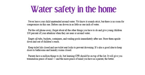 Water safety in the home