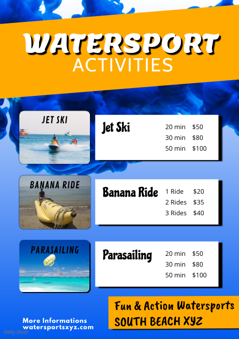 Water Sport Activity Beach Holiday Summer Ad