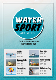 Water Sport Beach Holiday Summer Tourism Ad A4 template