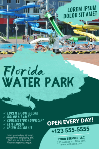 Water Theme Park Flyer Design Template