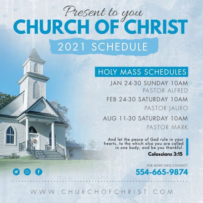 Watercolor Effect Church of Christ Instagram template