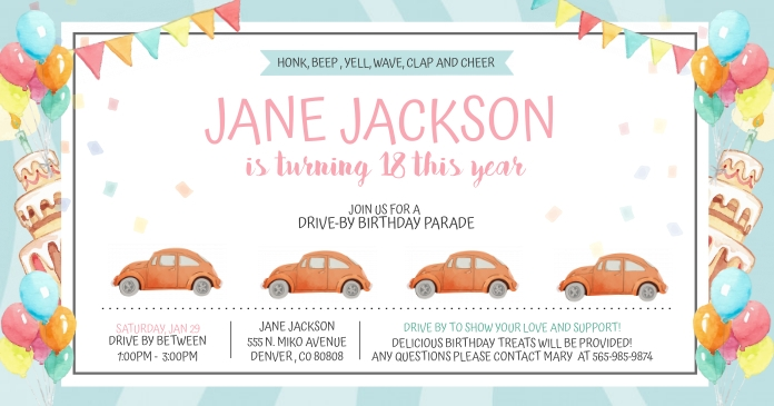 Watercolor Effect Drive-by Birthday Invite Fa Facebook Shared Image template