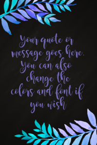 Watercolor Flowers Quote Poster Template